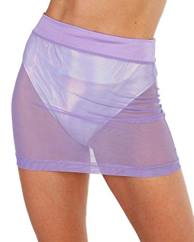 iHeartRaves Up 2 No Good High Waisted Mesh Mini Skirt (Lavender, X-Small)