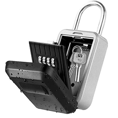MJJ Caja de Bloqueo de Seguridad para Llaves, candado de combinación Resistente a la Intemperie montado en la Pared, con Cubierta Impermeable, 4 dígitos para hogares, hoteles, escuelas