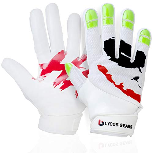 Lycos Gears Football Gloves for Youth – Lineman Receiver Gloves for Kids, Men and Women – Joker Grip Boost Football Gloves in White Color for Boys and Adults – Durable & Comfortable (Adult-Medium)