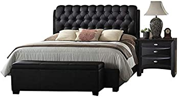 Acme 14347EK Ireland Bed with Black PU Finish