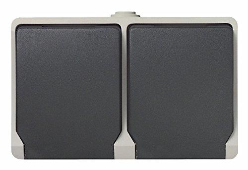UNITEC Feuchtraum-Schutzkontakt-Steckdose Aufputz in 2-facher Ausführung mit Schraubklemmen, 1 Stück, dunkelgrau, 46245L