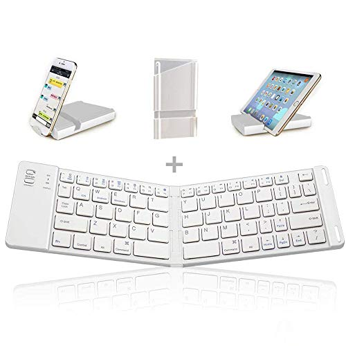 Meteor fire Faltbare Bluetooth 3.0-Tastatur, tragbare ultraschlanke kabellose Tastatur mit Ständerhalterung, kompatibel mit Laptop/Desktop/Smartphone/Tablet usw.Weiß