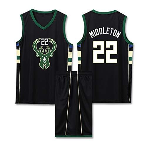 Z/A Khris Middleton # 22 Milwaukee Bucks Atmungsaktiv Und Schweißabsorbierend Basketball Kleidung Sommer Student Trainingsanzug Individuelle Westeober,4XL