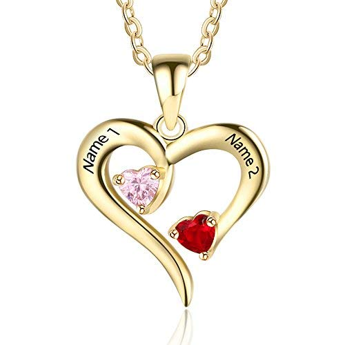 Personalized 2 Names Simulated Birthstones Necklaces 2 Couple Hearts Name Engraved Pendants for Women (Gold)