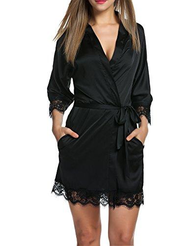 Balancora Satin Morgenmantel Damen Kimono Schwarz Damen Saunamäntel Leichter Nachtmantel Damen Sexy Silk Nachthemd Schwarz, XL