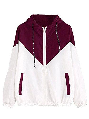 Milumia Women Color Block Drawstring Hooded Zip Up Sports Jacket Windproof Windbreaker with Pocket Maroon Small