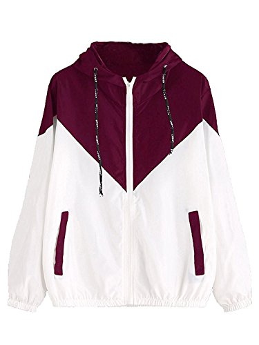 Milumia Women Color Block Drawstring Hooded Zip Up Sports Jacket Windproof Windbreaker with Pocket Maroon Small