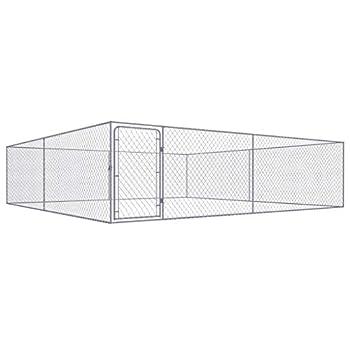 vidaXL Chenil extérieur pour Chiens Acier galvanisé 4x4x1,85 m
