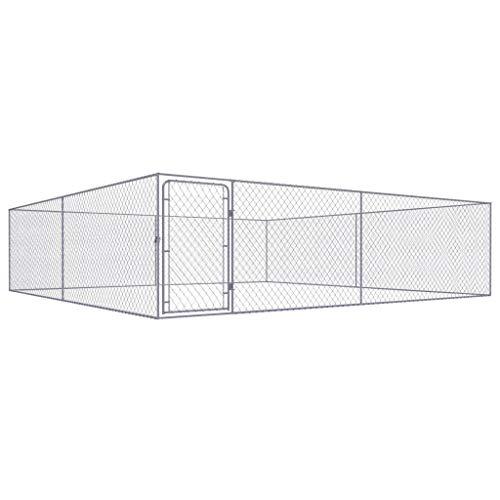 vidaXL - Cane da esterno per cani, in acciaio galvanizzato, 4 x 4 x 1,85 m