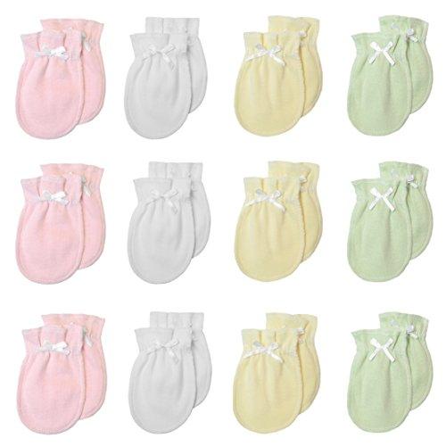 TL Care - Manoplas para recién nacido (100% algodón, antiarañazos), Niña