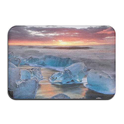 TTYIY Landschap Zonsondergang Ijs Surf Sky Wolken IJsland Winter Heavy Duty Welkom Ingang Deur Mat, Niet Slip Backing 40 x 60cm