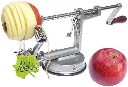 Made for us Profi Alu- Apfelschäler Apfelschneider Apfelentkerner Schälmaschine, in Silbergrau, original