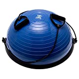 ZELUS 23 Inch Half Exercise Ball Stability Balance Board with Resistance Bands