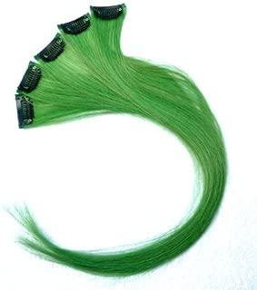 18 Inch High light GREEN Clip in Human Hair Extensions Straight GREEN Clip on Highlights Hair Extensions 6 Pieces/set (#GREEN)