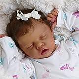 NAIXUE Muñeca realista de 49 cm de ojos cerrados durmiendo niña de vinilo suave silicona bebé marrón oscuro color piel lindo niño recién nacido juguete regalo para niños niños
