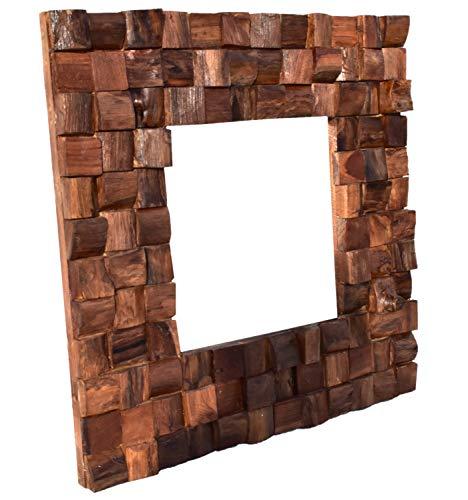 dasmöbelwerk Massiver Teakholz Spiegel Mosaik Teak Wandspiegel Badspiegel Massivholz 60x60 cm