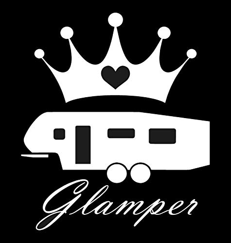 "Glamper 5th wheel sticker - Decal [WHITE] 5"" Funny RV Camper fifth Wheel Sticker, redwood, coachmen, keystone, crossroads, palomino, Forest River, Shitters Full, glamping sticker 5th wheel fifth"