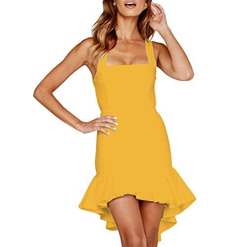 SANFASHION Damen Minikleid,Frauen Mode ärmelloses Fest Sling Gekräuselt Schlank Sexy Kleid