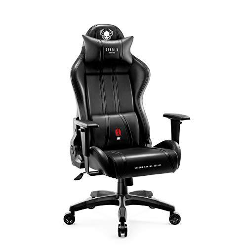 Diablo X-One 2.0 Gaming Stuhl Bürostuhl Schreibtischstuhl Verstellbare Armlehnen Ergonomisches Design Nacken/-Lendenkissen (Schwarz, XL)