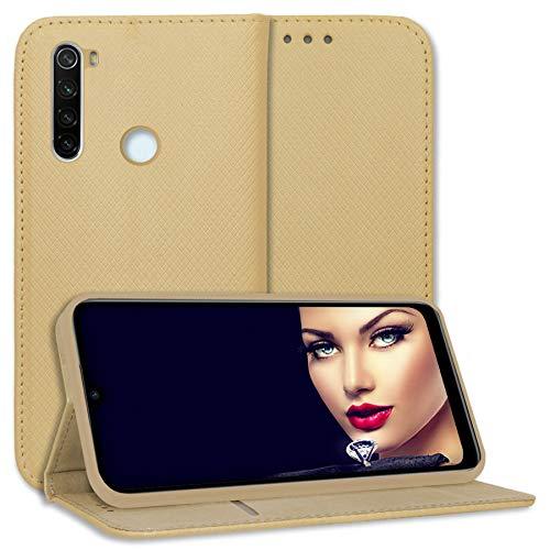 mtb more energy® Funda Bookstyle para Xiaomi Redmi Note 8T (6.3'') - Oro - Cuero sintético - Carcasa Estuche Wallet Case Cover