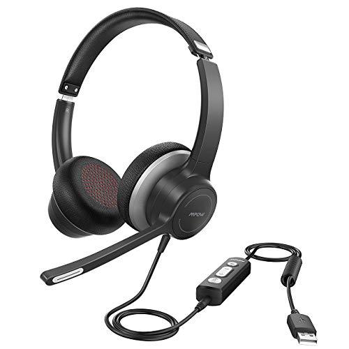 Mpow 328 Cuffie USB /3.5 mm per Computer con Microfono, Cuffie Business Leggere con Scheda Audio per La Riduzione del Rumore, Controllo in Linea per Skype, Webinar, PC, Cellulare