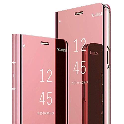 JAWSEU Compatible avec Samsung Galaxy A7 2018 Coque Placage Miroir à Rabat en Cuir Étui de Protection Mode Effet Miroir Motif Coque Slim Leather PU Portefeuille Flip Coque,Or Rose