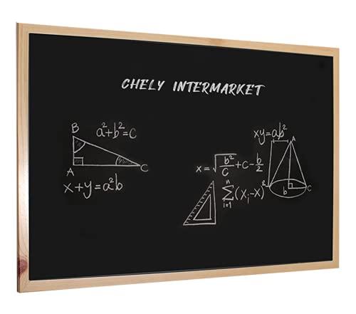 CHELY INTERMARKET | 35A1B | Pizarra Negra 90x60 cm, Enmarcado con Madera sólida, para Uso Educativo, hostelería y tablón de anuncios. Apto para Uso con Tiza y rotulador de Pizarra.(550-90x60-2,70)