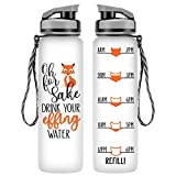 LEADO 32oz 1Liter Motivational Tracking Water Bottle with Time Marker - for Fox Sake Drink Your Effing Water - Funny Birthday, Christmas Gifts for Women, Friends, Coworkers, Wife, Mom, Daughter, Her