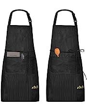 Viedouce schort, 2-pack waterdichte Schorten keukenschort met zakken, verstelbare keukenschort, BBQ-schort, slabbetje, keukenschort