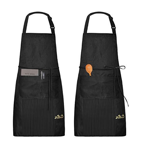 Viedouce 2 Piezas Delantales Impermeables Ajustables del Cocinero con Bolsillo Cocina Delantale para Mujeres Hombres,Delantal Chefs Cocina (Raya Negro)