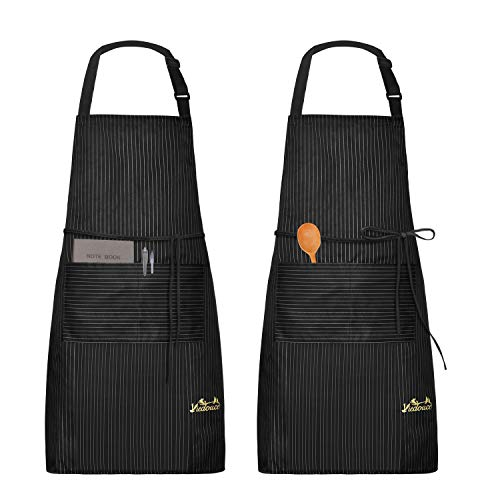 Viedouce Adult Aprons with Pockets Adjustable Waterdrop Resistant Kitchen Cooking Aprons Chefs Servers BBQ Baking Crafting Aprons 2 Pack, Black Stripes