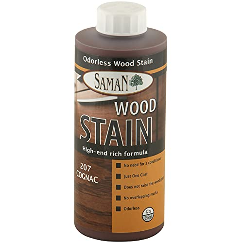 SamaN Interior Water Based Wood Stain & Natural Furniture, moldings, Wood Paneling and cabinets Stain (Cognac TEW-207-12, 12 oz)