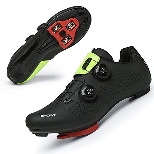 Zapatillas Ciclismo Carretera Hombre Bicicleta Carretera MTB Tacos Respirables calas Pedales Mountain Interior Zapatillas de Ciclismo (Verde Negro, Numeric_42)