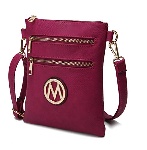 MKF Crossbody Bag for Women – Adjustable Strap – PU Leather Designer Crossover Lady Handbag Small Messenger Purse Fuchsia