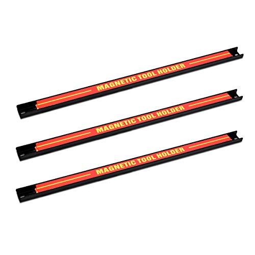 Navaris 3x Porta attrezzi magnetico - Portautensili barre 45 cm - Set pannello porta utensili da parete - Aste magnetiche supporto per garage officina