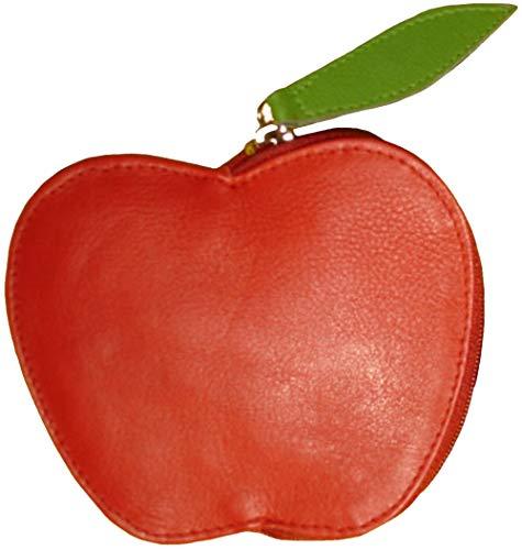 kulturvolle Leder Geldbörse in Form eines coolen Apfels Apfelbörse Rot/Grün mit RFID-Schutz