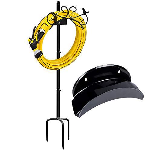 SAND MINE Garden Hose Holder, Free Standing Water Hose Stand Holders Hanger for Outside Hose Organizer, Black
