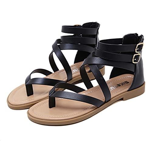 Moda Sandalias Mujer Verano Sandalias planas Estilo Bohemia Zapatos de Dedo Chanclas...