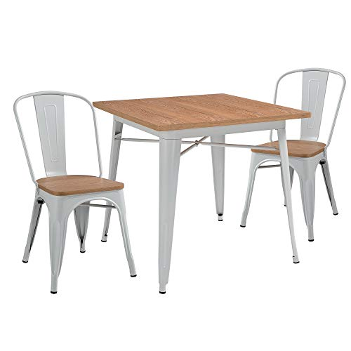 HOMCOM 3 Piece Industrial Style Dining Table Chair Set, Square Desk, High Back Barstool with Wood Top Metal Frame, White