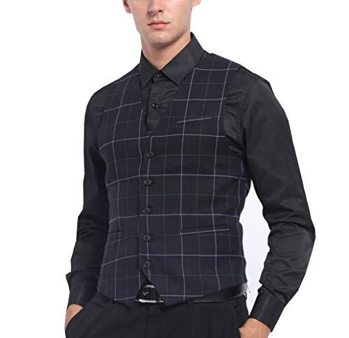 Pre-Suit Chaleco de traje a cuadros para hombre chaleco formal ajustado con cuello en V caballero novio de boda plano azul marino sólido(Armada, XXXL)