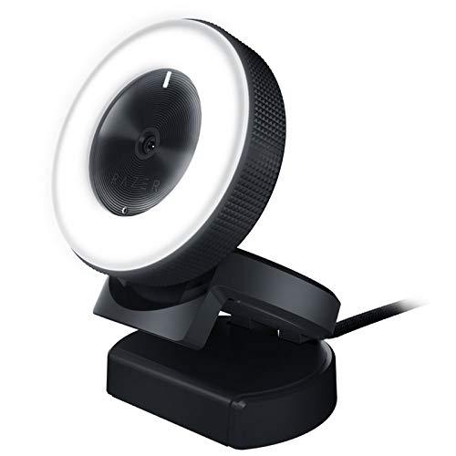 Razer Kiyo Cámara de transmisión con iluminación de anillo, cámara web USB, video HD 720p, 60 FPS, compatible con el software Open Broadcaster, Xsplit, autofocus, clip de cámara, conexión de trípode