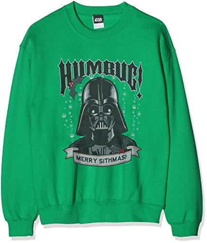 Star Wars Men's Christmas Darth Vader Humbug Sweatshirt Sudadera, Verde (Green 012), Small para Hombre
