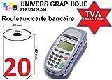 Lot de 20 - Bobine carte bancaire thermique 57 x 40 x 12 m -papier thermique pour CB 57 x 40 x 12 mm...