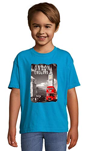London England Big Ben and Red Bus Blue Crew Neck Kids T-Shirt 130-140 (10 Year)