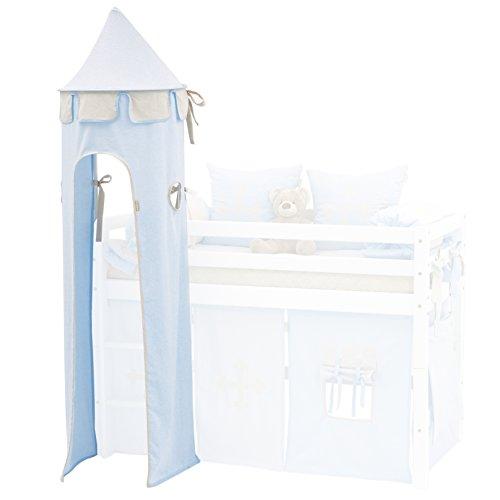 Hoppekids für Halbhochbett, Spielbett, Hochbett, inkl Gestell, hellblau, Textil, Fairytale Knight, 45 x 45 x 185 cm