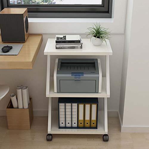 Printer Stand kabinet, Draagbare Office Tafel TV Winkelwagen met Casters, Draagbare Koffiemachine Stand voor Kantoor, Einde Tafel en Berging Winkelwagen met Wielen 50x32x73cm Kleur: wit
