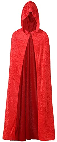 SHUOYUE Mantello con Cappuccio Lungo in Velluto Mantello Halloween Costume di Halloween Carnevale Natale Donna Uomo Unisex Morbido Costume Strega Vampiro Capo Masquerade