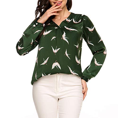Zeagoo Women's Casual Print Chiffon V Neck High Low Hem Blouse Top,Green,X-Large