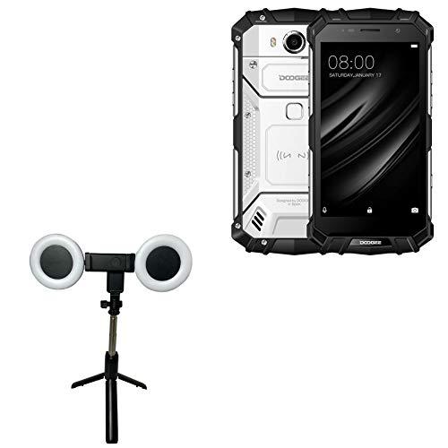 Suporte e suporte Doogee S60 Lite, BoxWave [RingLight SelfiePod] Haste extensível com anel de luz para Doogee S60 Lite - Preto