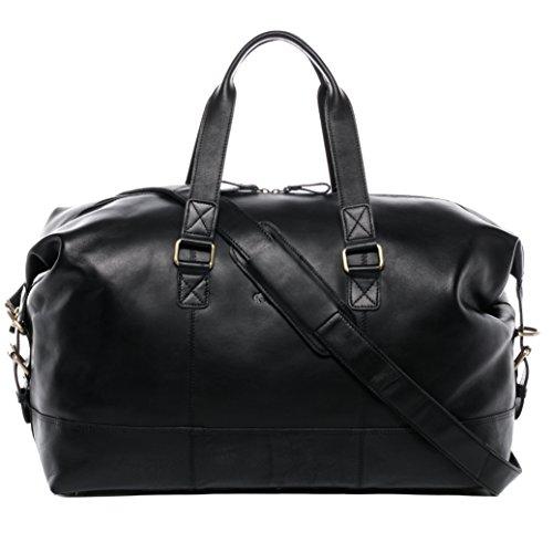 SID & VAIN Weekender echt Leder YALE groß Sporttasche Reisetasche Ledertasche Unisex 50 cm schwarz